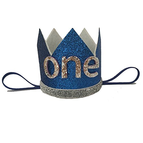 iMagitek Baby Boy 1st Birthday Crown Tiara Headbands, Baby Boys First Birthday Party Hairband Hat -