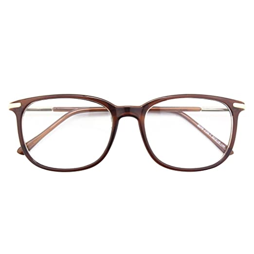 4770c395581 Happy Store CN79 High Fashion Metal Temple Horn Rimmed Clear Lens Eye  Glasses