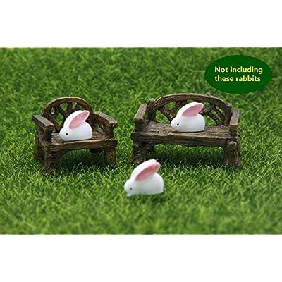 ODDIER Fiddlehead Fairy Village - Micro Cany Resin Mini Bench & Chair Set: Garden & Outdoor