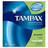 Tampax Cardboard Applicator Tampons, Super Absorbency, Unscented, 20 Count- Pack of 24 (480 Count Total)