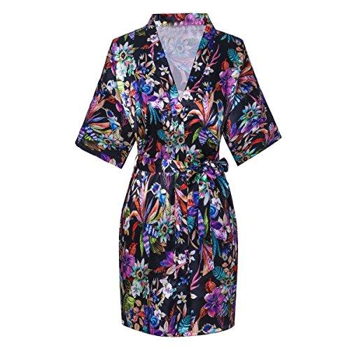 Old-to-new Women's Short Kimono Robe Bathrobe Night Robe with Flower Patterns Black 2XL