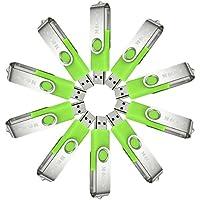 MECO(TM) 10Pcs 1GB 1G USB 2.0 Flash Drive Memory Stick Fold Storage Thumb Stick Pen Swivel Design Green