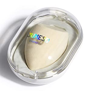 Makeup Cosmetic Blender Beauty Sponge Egg with Dustproof Case, JUMESO Foundation Blending Sponge Latex Free, Individually Wrapped, Wet & Dry Use for Liquid, Powders, Concealer - Skin, Flat Oval Cut