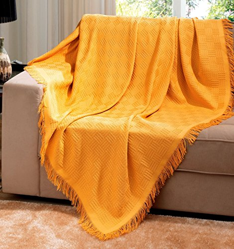 Gold Brazilian Cotton London Throw Blanket With Fringe 63x87 Inches … …