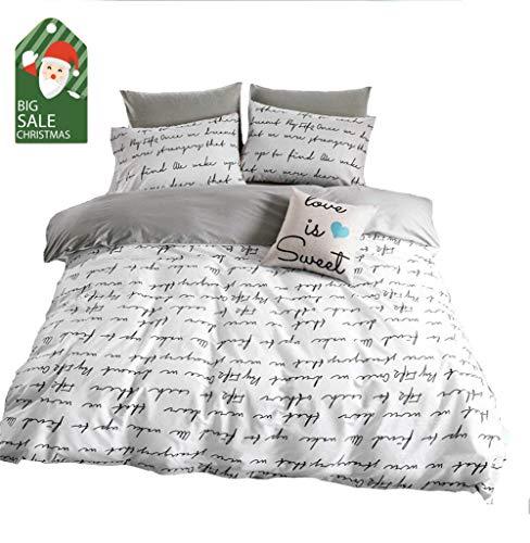 - VClife Cotton Bedding Duvet Cover Sets White Gray Queen Bedding Sets for Boy Girl Children Teens, Romantic 'Love Letter' Design Bedding Collections [NO Comforter] - Zipper Closure & Corner Ties