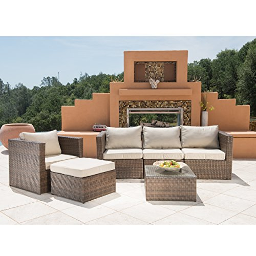 supernova 6pc furniture modern outdoor garden wicker sofa set with coffee table beige home. Black Bedroom Furniture Sets. Home Design Ideas