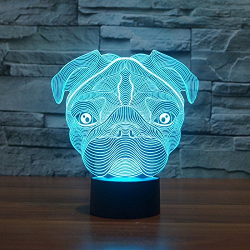 3D Sharpei Puppy Bulldog Dog Animal Night Light 7 Color Change LED Table Desk Lamp Acrylic Flat ABS Base USB Charger Home Decoration Toy Brithday Xmas Kid Children Gift by FXUS (Image #7)