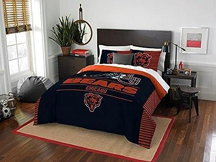 Chicago Bears - 3 Piece FULL / QUEEN Size Printed Comforter Set - Entire  Set Includes: 1 Full / Queen Comforter (86\