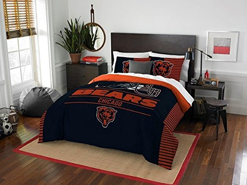 Chicago Bears - 3 Piece FULL / QUEEN Size Printed Comforter Set - Entire Set Includes: 1 Full / Queen Comforter (86