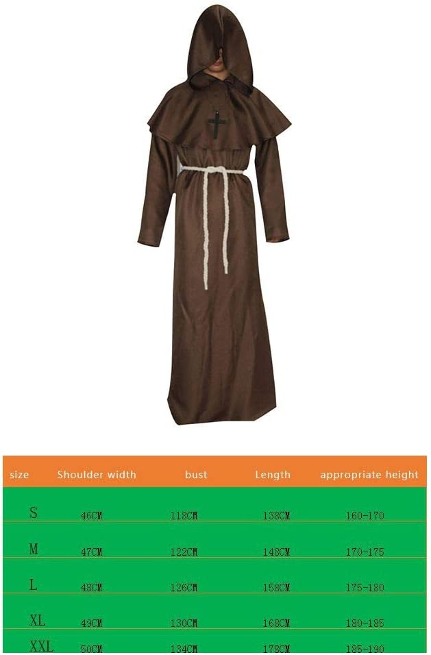 Beaums Unisex Cosplay Traje Medieval Wizard Costume Dress,Medieval ...