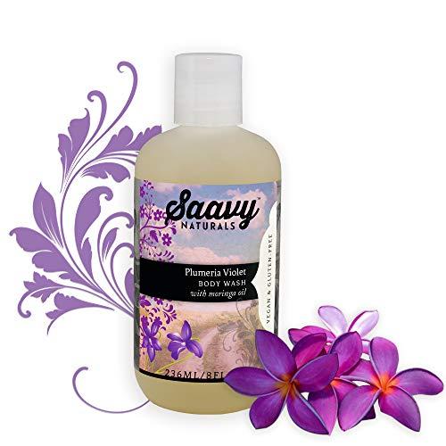 Plumeria Violet Body Wash | Gluten-Free, Vegan Shower Gel | Natural and Organic Body Soap | 8 oz