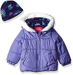 London Fog Girls\' Infant Heavyweight Puffer Jacket with Kangaroo Pocket, Purple, 24MO