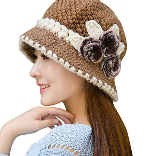 - Winter Hat, ღ Ninasill ღ Exclusive Warm Crochet Knitted Flowers Decorated Ears Hats Caps (Khaki)