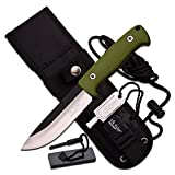 Elk Ridge ER-555GN Fixed Blade Knife with Survival Kit, 10.5-Inch Overall