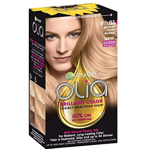 Garnier Olia Ammonia Free Permanent Hair Color, 100 Percent Gray Coverage (Packaging May Vary), 8 1 2.03 Medium Pearl Blonde Hair Dye, 1 Kit