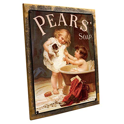 Pears Soap Metal Sign Framed on Rustic Wood, Victorian Child with Puppy, ()