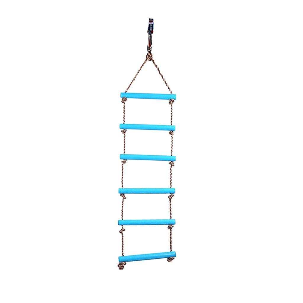 MagiDeal New Children Outdoor Playhouse Plastic 6 Rungs 2M Rope Climbing Ladder Garden Playground Backyard Fun Toy Blue