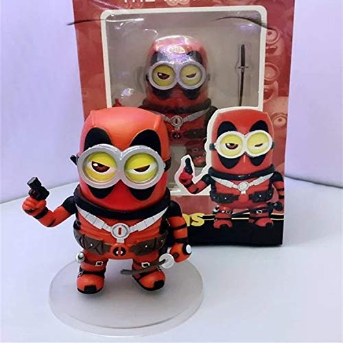PAPWELL Minion Deadpool Action Figure 4 inch Cosplay Mashup Hot Toys Marvel Legends Despicable Me PVC Model Toy Figures Halloween Christmas Collectable Gifts Collection Gift for Kids for $<!--$22.55-->