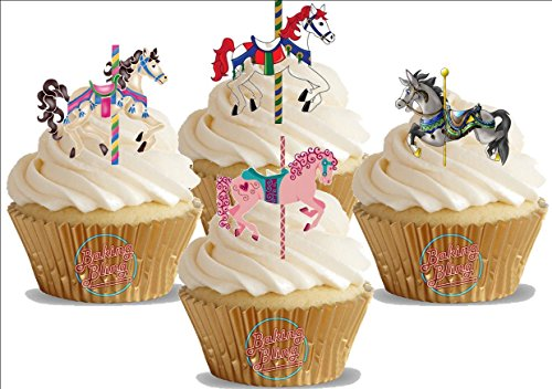 Baking Bling Carousel Horse Mix - 12 Standup Edible Premium Wafer Paper Cake Toppers Decoration 12 X 55Mm ()