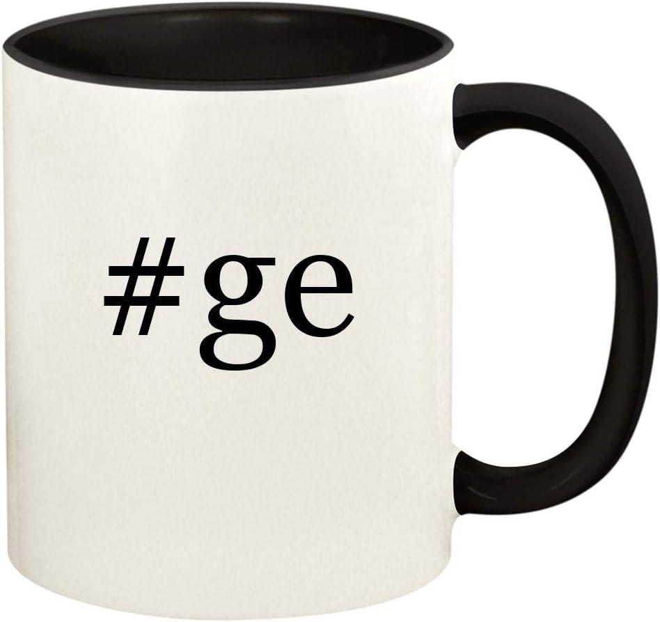 #ge - 11oz Hashtag Ceramic Colored Handle and Inside Coffee Mug Cup, Black