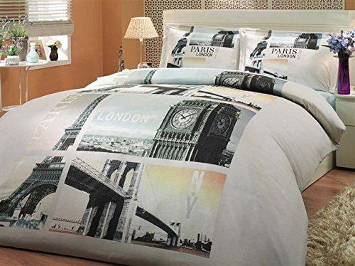 Gold Case LONDON City Series - 100% Cotton Premium Duvet Cover Set - Queen size - 4 piece - Made in Turkey, London ()