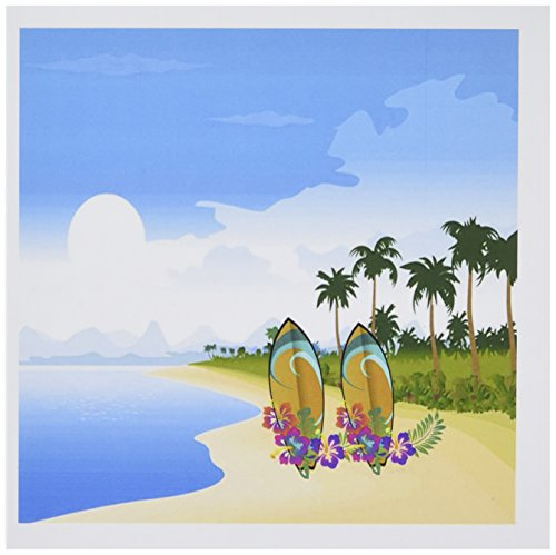 3dRose Set of 12 Greeting Cards, Image of Palm Tree Island with Hawaiian Flower Surf Boards (gc_174507_2)