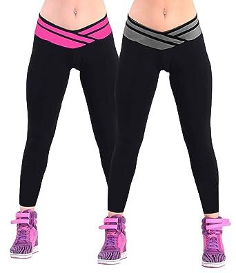 4How® 2 Lots de Pantalon de Sport Femme Leggings Fitness Yoga Jogging  athlétique et Quotidien 517d8ca506b