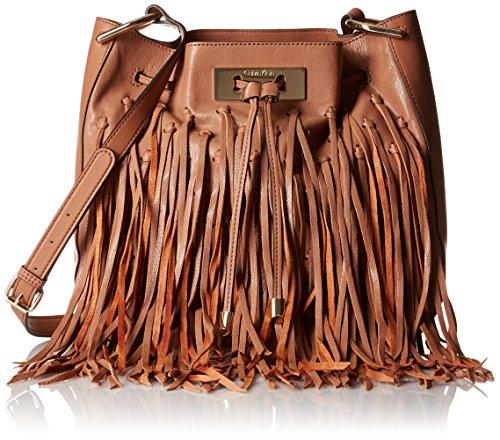 Boho-Chic Vacation & Fall Looks - Standard & Plus Size Styless - Calvin Klein Carmen Goat Fringe Bucket, Cashmere Fringe
