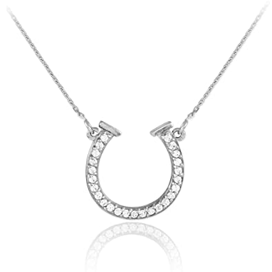 Amazon 14k white gold lucky diamond horseshoe necklace 16 amazon 14k white gold lucky diamond horseshoe necklace 16 inches pendant necklaces jewelry aloadofball Image collections