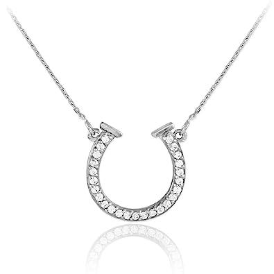Amazon 14k white gold lucky diamond horseshoe necklace 16 14k white gold lucky diamond horseshoe necklace 16 inches aloadofball Choice Image