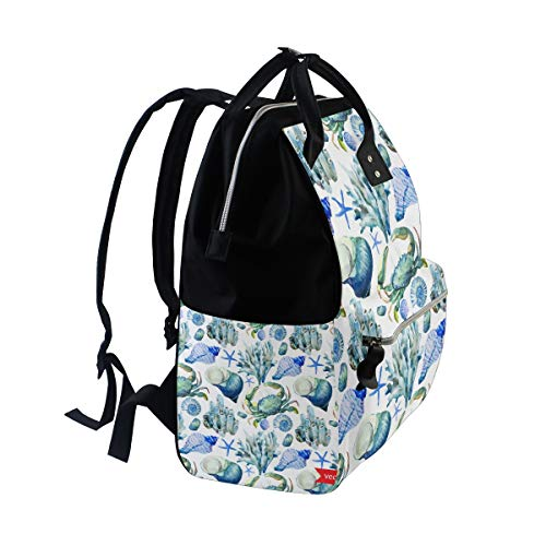 fbf2258f350c MAPOLO Underwater Conch Sea Shell Starfish Crab Diaper Backpack Large  Capacity Baby Bag Multi-Function Nappy Bags Travel Mom Backpack for Baby  Care