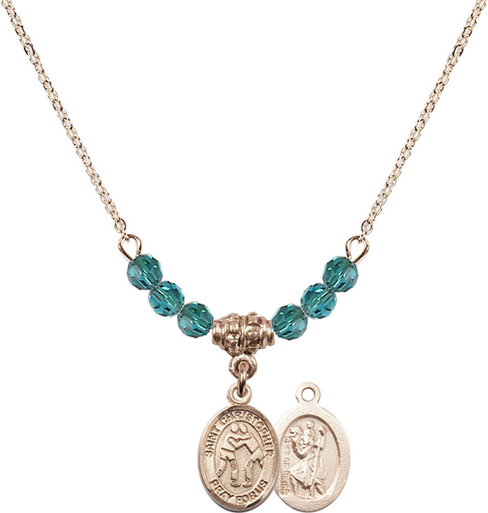 18-Inch Hamilton Gold Plated Necklace with 4mm Zircon Birthstone Beads and Gold Filled Saint Christopher/Wrestling Charm.