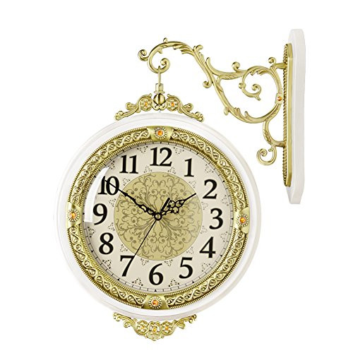 HENSE Wrought Iron Elegant Round Hanging Double Side Two Faces Rooms Clock Roman Numerals,Scroll Wall Side Mount Home Decor HDS05A-01 (Roman Scroll)