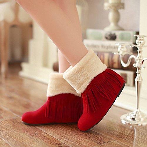 Fur Tassels Carolbar Winter Faux Wedge Womens Hidden Red Boots Warm Heel Fashion Charms Snow tt4aI