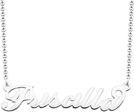 Amazon Com Moonlight Collections Priscilla Name Necklace