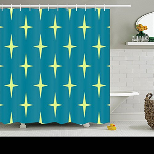 Shower Curtains Custom Decorative Retro 50S Pattern Mid Century Design Design Waterproof Polyester Fabric Home Bathroom Decor Bath Curtain 72×72 Inches 51Ha64Q7HOL