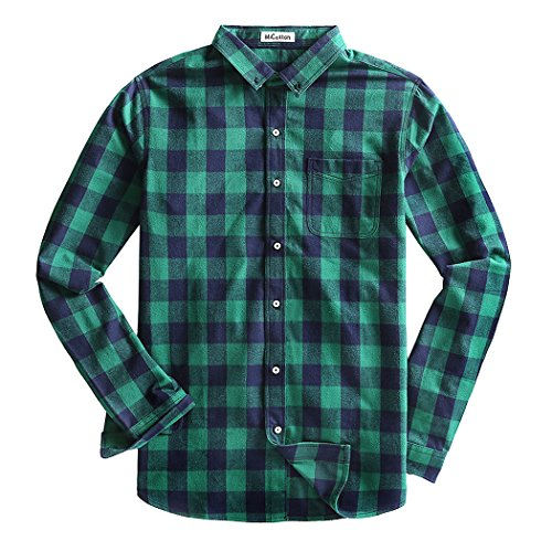 [MiCotton Men's Regular Fit Flannel Plaid Button Down Casual Shirts,Dark Green,Large] (Green Plaid Flannel Shirt)