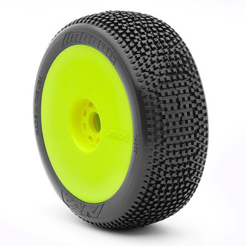 AKA Products 14007VRY Racing Buggy Impact Super Soft Evo Wheel Pre-Mounted Yellow Tire, Scale 1:8 Soft Pre Mounted Tire