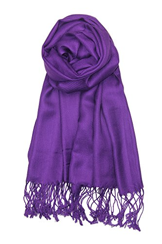 Achillea Large Soft Silky Pashmina Shawl Wrap Scarf in Solid Colors (Purple/Eggplant)