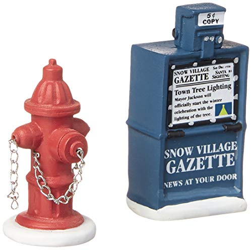 Department 56 Accessories for Villages Fire Hydrant and Newspaper Box Accessory Figurine (Set of 2) (Accessories Home Christmas)