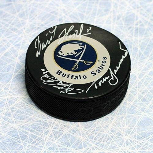 Dominik Hasek Tom Barrasso Ryan Miller Signed Buffalo Sabres Vezina Goalie Puck - Autographed NHL Pucks (Autographed Ryan Miller)
