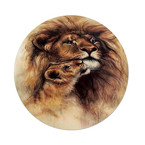 Polyester Round Tablecloth,Safari Decor,Painting of Loving Lion and her baby Cub Snuggle Wildlife Nature Expression Safary Theme Image,,Dining Room Kitchen Picnic Table Cloth Cover,for Outdoor Indoor by iPrint