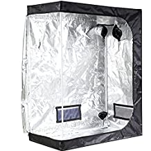 """iPower 48""""x24""""x60"""" Hydroponic Water-Resistant Grow Tent with Removable Floor Tray for Indoor Seedling Plant Growing"""
