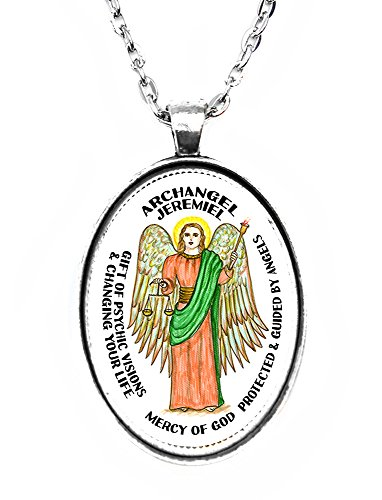 (Archangel Jeremiel for Psychic Visions & Changing Your Life Huge Silver Pendant)