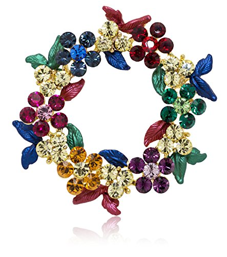 Akianna-Gold-tone-Swarovski-Element-Crystals-Wreath-Pin-Brooch-Christmas-Multicolor