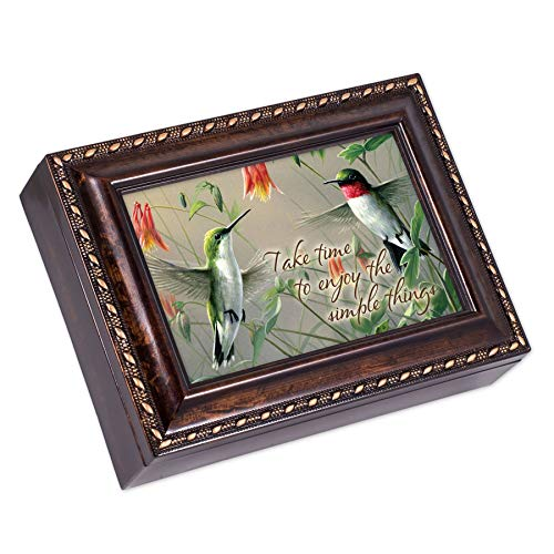 (Cottage Garden Take Time Enjoy The Simple Things Burlwood Rope Trim Jewelry Music Box Plays Canon in D)