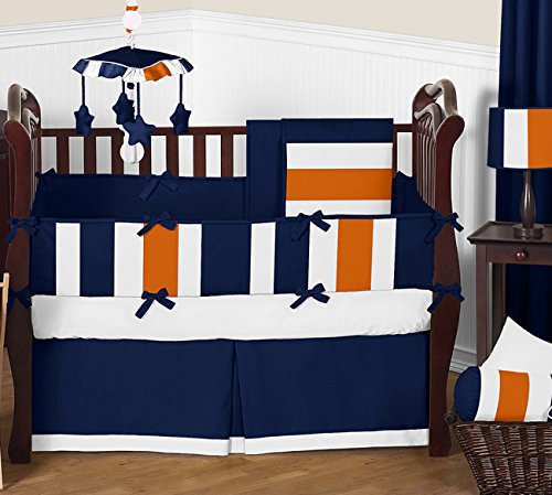 Navy Blue, Orange and White Window Treatment Valance for Stripes Bedding Collection