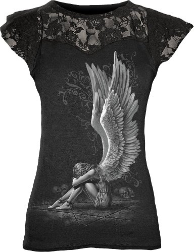 Spiral - Womens - ENSLAVED ANGEL - Lace Layered Cap Sleeve Top Black - L -