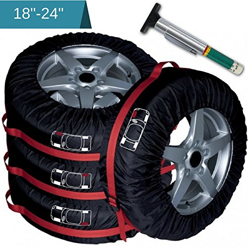 PANAMOO Seasonal Tire Cover Totes-Pack of 4 Bags FREE TIRE TREAD GAUGE INCLUDED!