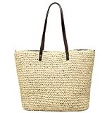 Obosoyo Women's Classic Straw Handbag Summer Beach Sea Shoulder Bag Large Tote (Beige1)